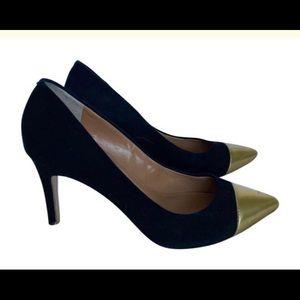 J.Crew Black & Gold Suede Heels / Size 6.5